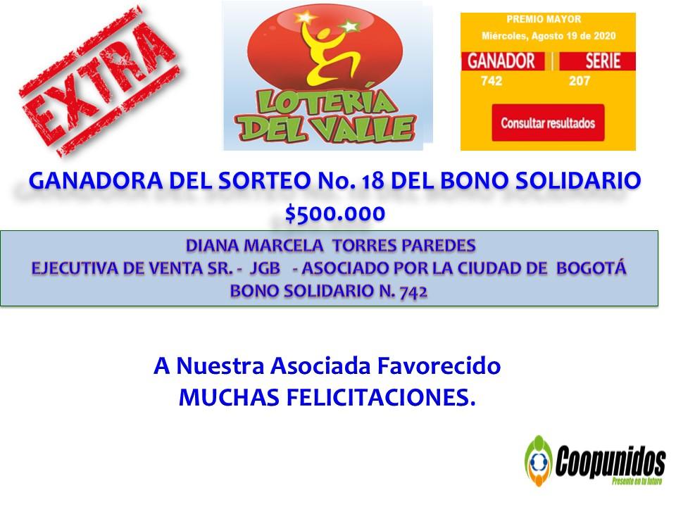 Sorteo No. 18 del bono solidario