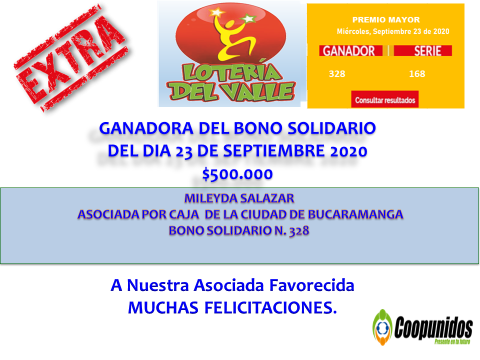 Ganadora del bono solidario 23 septiembre