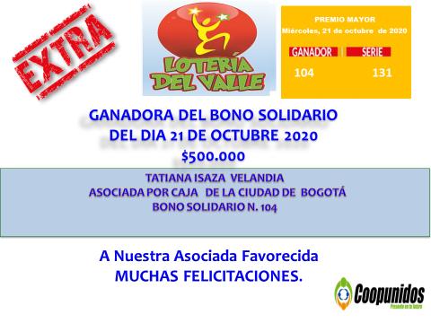 Ganadora del bono solidario 20 de octubre