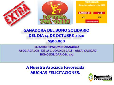 Ganadora del bono solidario 14 de octubre