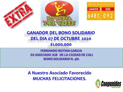 Ganadora del bono solidario 7 de octubre