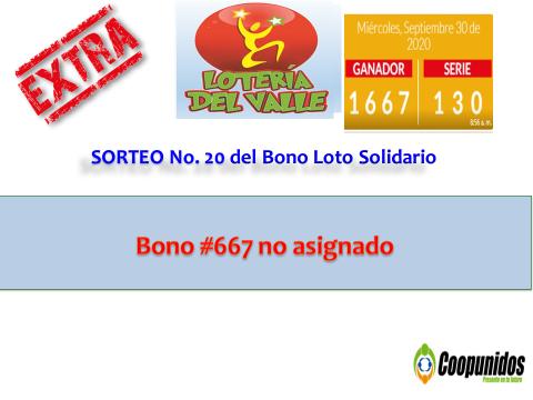 Sorteo No. 20 del bono loto Solidario 30 septiembre