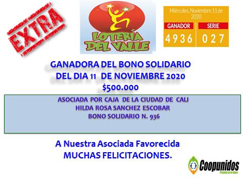 Ganadora del bono solidario del día 11 de noviembre 2020 $500.000